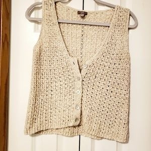 J. Jill crochet open knit cropped vest